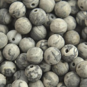Grijs Edelsteen kraal Frosted Netstone grijs rond 6mm - 10 stuks