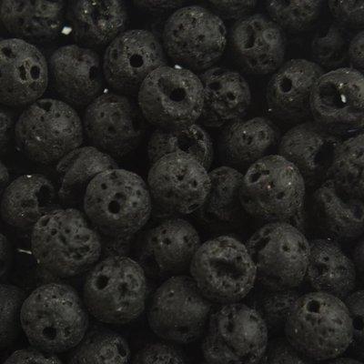Zwart Edelsteen kraal Lava Zwart rond 6mm - 10 stuks