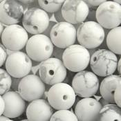 Wit Edelsteen kraal  Frosted Howlite wit rond 6mm - 10 stuks