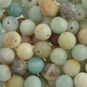 Groen Edelsteen kraal Frosted Amazoniet rond 6mm - 10 stuks
