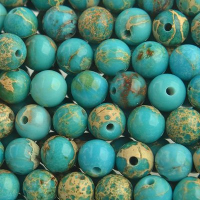 Turquoise Edelsteen kraal Regaliet Jasper Turquoise rond 6mm - 10 stuks