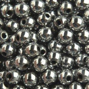 Grijs Edelsteen kraal Hematiet Silver plated rond 6mm - 10 stuks