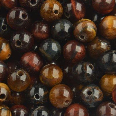 Bruin Edelsteen kraal Tijgeroog mixed kleuren rond 6mm - 10 stuks