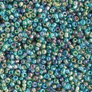 Blauw Rocailles glas Paradise blue AB transparent 12/0 (2mm) - 20 gram