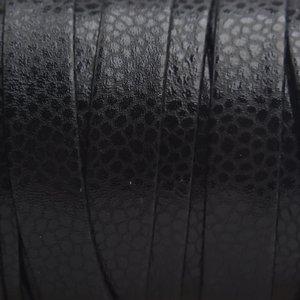 Zwart Plat nappa leer Black 10x2mm - prijs per cm