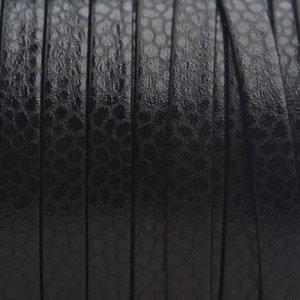 Zwart Plat nappa Leer Black 5x1.5mm - prijs per cm