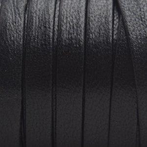Zwart Plat nappa Leer Black Smooth 5x1.5mm - prijs per cm