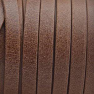 Bruin Plat nappa Leer Luxe Cognac bruin 5x1.5mm - prijs per cm