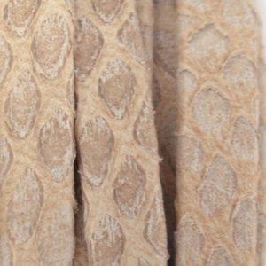Bruin Plat nappa Leer Luxe Reptile Sand grijs 5x1.5mm - prijs per cm