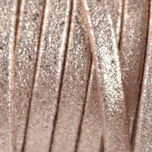 Bruin Plat nappa Leer Luxe Rosegold metallic geschuurd 5x1.5mm - prijs per cm
