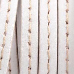 Wit Plat leer wit stiksel 5x1.5mm - prijs per cm