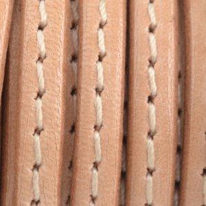 Bruin Plat leer naturel stiksel 5x1.5mm - prijs per cm