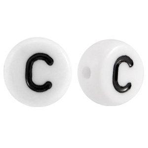 Wit Letterkraal acryl letter C wit 7mm - 10 stuks