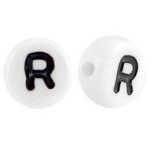 Wit Letterkraal acryl letter R wit 7mm - 10 stuks
