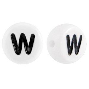 Wit Letterkraal acryl letter W wit 7mm - 10 stuks