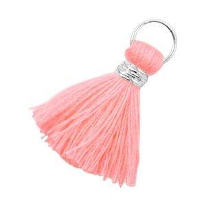 Oranje Ibiza kwastje Zilver-Neon coral pink 20mm