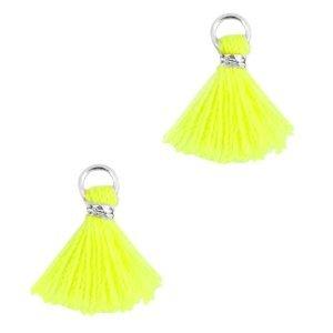 Geel Mini kwastje Zilver-Neon geel 10mm