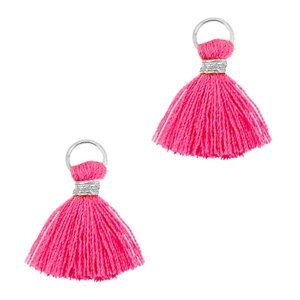 Roze Mini kwastje Zilver-magenta roze 10mm