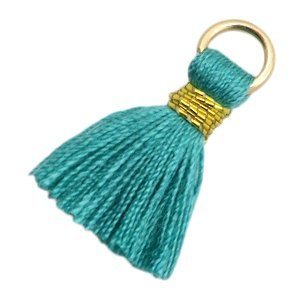 Turquoise Ibiza kwastje Gold-dark emerald green 20mm