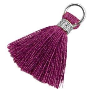 Paars Ibiza kwastje Silver-dark aubergine purple 20mm