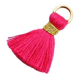 Roze Ibiza kwastje Gold-fuchsia pink 20mm