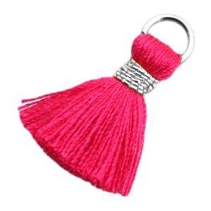 Roze Ibiza kwastje Silver-fuchsia pink 20mm