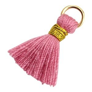 Roze Ibiza kwastje Gold-antique pink 20mm