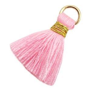 Roze Ibiza kwastje Gold-pink 20mm