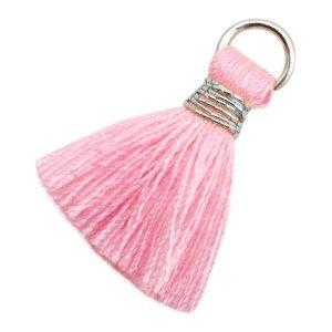 Roze Ibiza kwastje Silver-pink 20mm