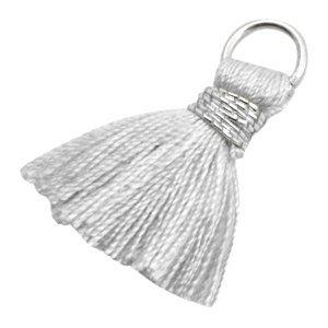Grijs Ibiza kwastje Silver-light grey 20mm