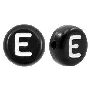 Zwart Letterkraal acryl letter E zwart 7mm - 10 stuks