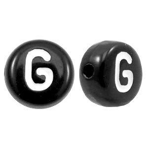 Zwart Letterkraal acryl letter G zwart 7mm - 10 stuks