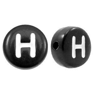 Zwart Letterkraal acryl letter H zwart 7mm - 10 stuks