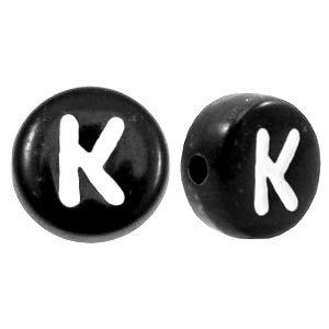 Zwart Letterkraal acryl letter K zwart 7mm - 10 stuks
