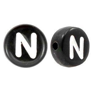 Zwart Letterkraal acryl letter N zwart 7mm - 10 stuks