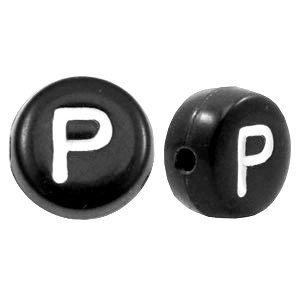 Zwart Letterkraal acryl letter P zwart 7mm - 10 stuks