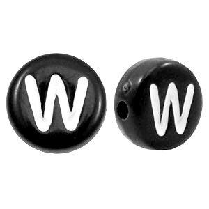 Zwart Letterkraal acryl letter W zwart 7mm - 10 stuks