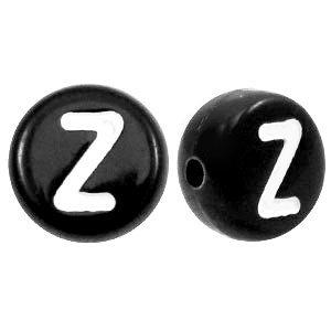 Zwart Letterkraal acryl letter Z zwart 7mm - 10 stuks