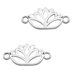 Zilver Tussenzetsel lotus Zilver DQ  27x13mm