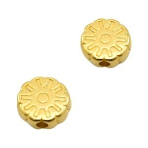 Goud Kraal disc bloem Goud DQ 6.5mm
