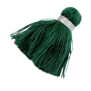 Groen Ibiza kwast Zilver-dark green 3,6cm