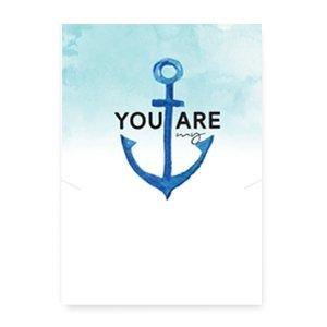 "Blauw Sieraden kaartjes ""You are my anchor"" White-blue"