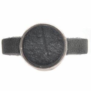Zwart Ring Plat leer & leer cabochon groot DIY antraciet zwart