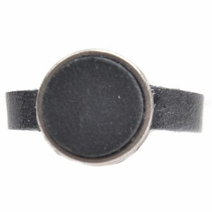 Zwart Ring Plat leer & leer cabochon groot DIY black metallic