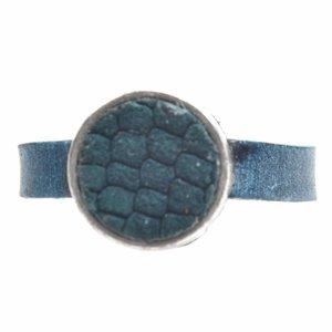Blauw Ring Plat leer & leer cabochon groot DIY petrol reptile