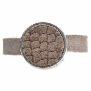 Bruin Ring Plat leer & leer cabochon groot DIY taupe reptile