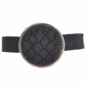Zwart Ring Plat leer & leer cabochon groot DIY black reptile