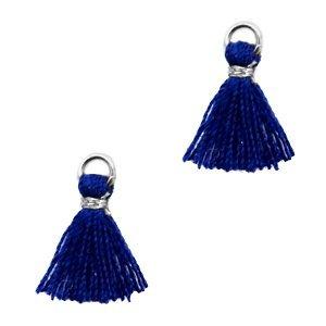 Blauw Mini kwastje Silver-dark blue 10mm