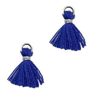 Blauw Mini kwastje Silver-navy blue 10mm