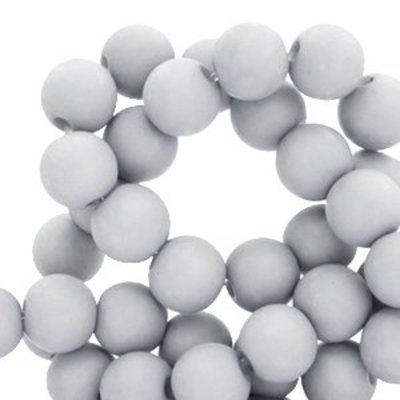 Grijs Acryl kralen mat Haze grey 8mm - 50 stuks